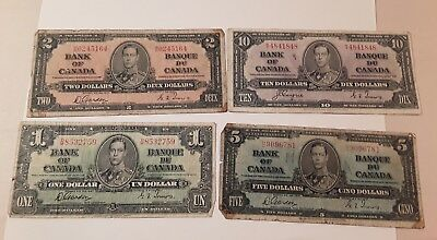1937 Canada $1 $2 $5 $10 Ten  Dollars Note. Set of 4 Pcs. GeorgeVI