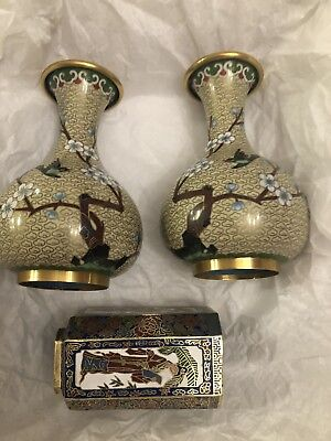 """Pair Antique Chinese Miniature Cloisonne Vases with Trees 6"""" Tall AND Small Vase"""