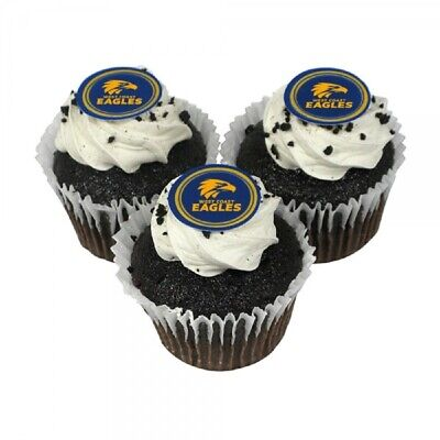 West Coast Eagles Edible Icing Cupcake Toppers AFL Official Birthday Party