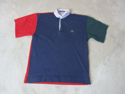 e7f4a8f0867 VINTAGE Tommy Hilfiger Polo Shirt Adult Large Blue Red Crest Rugby Mens 90s  *