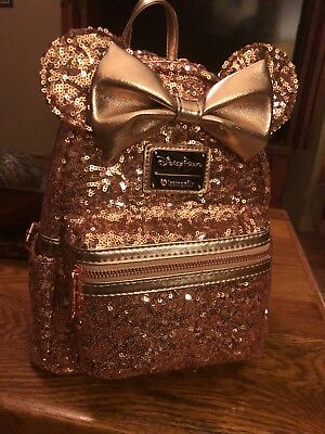Disney Parks Disneyland Loungefly Rose Gold Ears Sequin Minnie Bow Mini Backpack