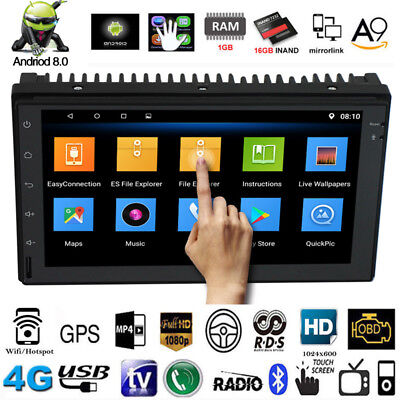 """Android 8.0 Bluetooth Quad Core Car Stereo Radio 2 DIN 7"""" MP5 Player GPS Wifi BT"""