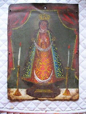 Beautiful Original Antique Retablo On Tin With  Image Of Our Lady Of Zapopan