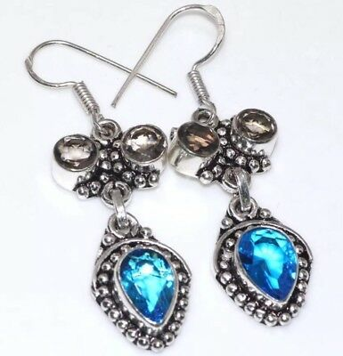 Blue Topaz Quartz & Smokey Quartz Hook Style Silver Colored Dangle Earrings