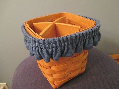1995 Longaberger Small Spoon Basket with Divider, Protector, & Garter