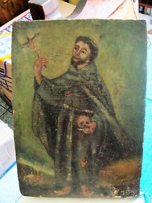Original Antique Retablo On Wood Image Of Saint Francis W/ Skull And Crucifix