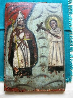 Original Antique Retablo On Wood Two Saints Not Familiar With Some Paint Loss