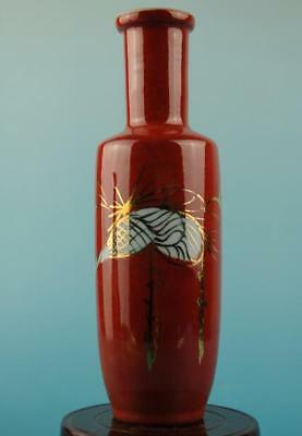 Chinese old hand-made red glaze porcelain vase b02
