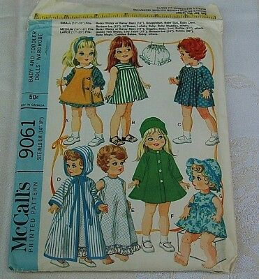 "1967 McCall's 9061 Vintage Doll Pattern Dresses~Robes for 17"" through 20"" Dolls"