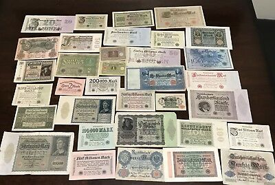 Nice Lot of 34 Old Banknotes form Germany ALL 95+ Years Old - Foreign Currency