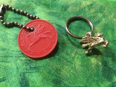 Vintage MOBIL OIL PEGASUS Horse Advertising Gas Station Key Chain Charm LOT OF 2