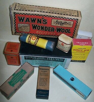 10 x VINTAGE MEDICAL ITEMS / PACKAGING (some with original contents)