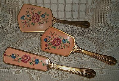 3pc VINTAGE 'SHABBY' GOLD/BRASS-TONE & PINK FLORAL PETIT POINT VANITY PIECES