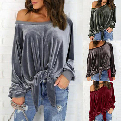 Womens Long Sleeve Velvet Shirt Tops Off One Shoulder Blouse Fashion Tie Knot US