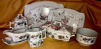 Antique Johnson Brothers Jb1194 Lot Of 10 Pcs Wonderful Pink Gray Pattern Old!