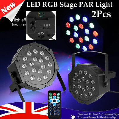 2X 18LED 18W RGB Stage Light Lamp Club Auto DMX Voice Contol Xmas Disco Party AU