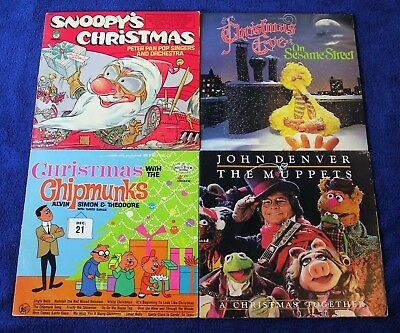 VINTAGE VINYL RECORDS Childrens Lot Of 4 Chipmunks Snoopy Muppets Sesame  Street!