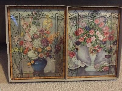 """Vtg Floral Silhouette Reverse Painted Curved Convex Glass Pictures 8"""" x 6"""""""