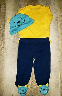 Carter's Infant Boy 6 Months 3-Piece Monster Theme Footed Pant Set Baby Outfit