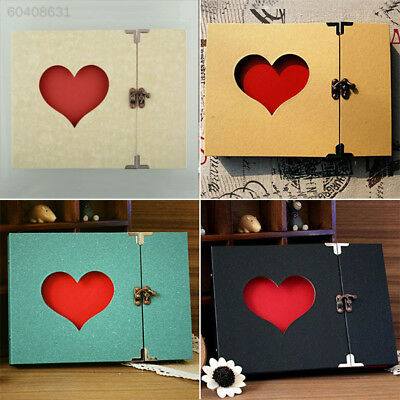 51D6 A142 Hollowed Heart Love Photo Album Scrapbook Green Cover DIY Craft Memory