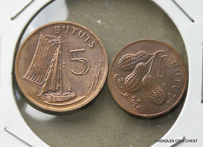 1971 Gambia 1 And 5  Bututs Uncirculated Pair As Imaged #jld70