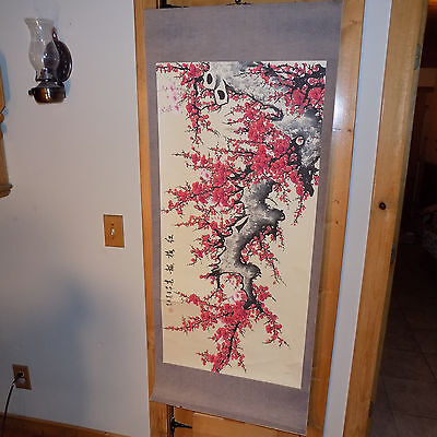 Cherry Blossom Tree Scroll Signed By Luo Qi Watercolor Chinese Scroll Large
