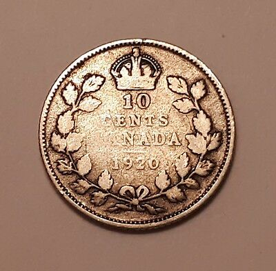 1920 Canada 10 Cents Coin (80% Silver) - King George V