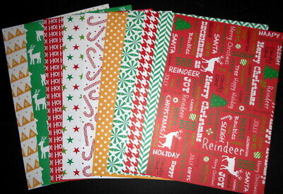 A4 Patterned Papers  x 15  ~ HAPPY CHRISTMAS ~ Scrapbooking/Cardmaking