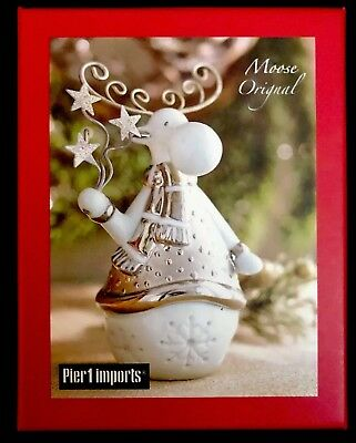 Collectible Ceramic Moose Figurine PIER 1 IMPORTS CHRISTMAS/Holiday Decor Silver