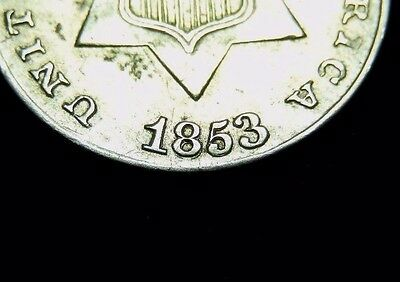 1853 3 Cent Silver w/ Repunched Date ~ L@@K