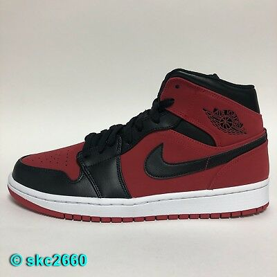 official photos 9d125 37567 Air Jordan 1 Mid 8-14 Gym Red Black White 554724-610. Bred