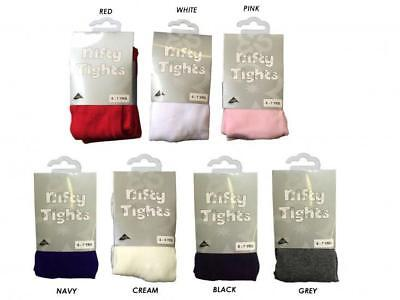 Nifty Girls & Baby Tights Plain Everyday Cotton Rich White Pink Red Cream O-2Yrs