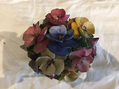 Vintage Staffordshire ceramic flower basket with handprinted flowers