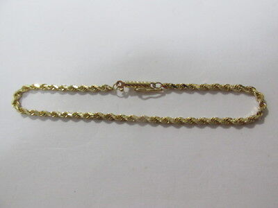 NEW 14k Yellow Gold 2mm wide Rope Link 3.5gr. Bracelet 7 inches Long Italy