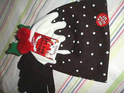 Kids Christmas Hat Set/christmas Pudding Design & Matching Gloves/one Size Nwt