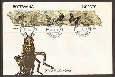 Botswana 1981 FDC. Insects sheetlet.