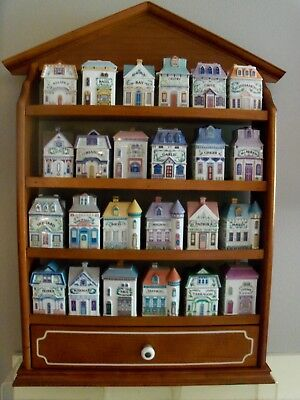 LENOX PORCELAIN 1989 SPICE VILLAGE Complete Set with Display Rack