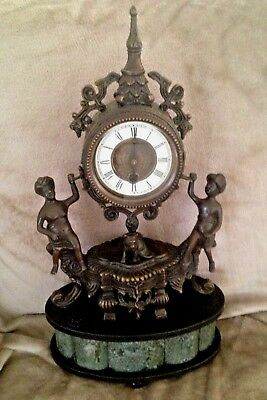 Mantle Clock Genuine Bronze and Marble  Wind Up with Key goes for 5 days