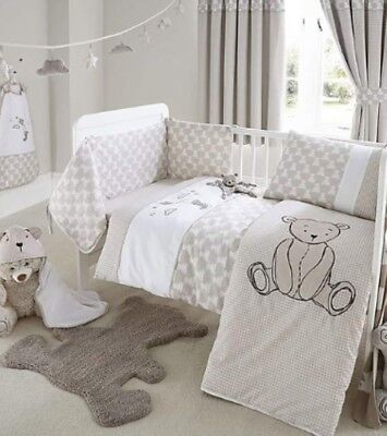 Archie Bear Neutral Baby Cot Bed Quilt Cover Pillowcase Nursery Set Dunelm Mill