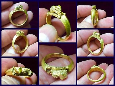 Lovely Rare Solid Gold Roman Ring With Elephant C 3rd 4th Cent AD.X 9.1 GRMS
