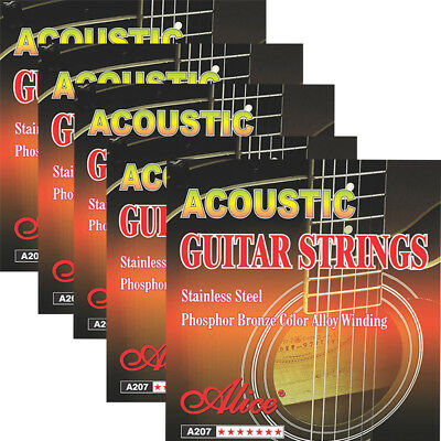 5 x A207-SL Alice Stainless Steel Acoustic Guitar Strings Super Light .011-.052