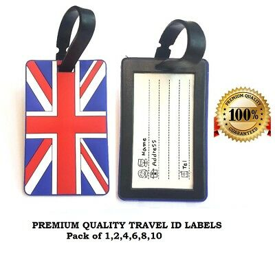 10 x UK Luggage Travel Tags Suitcase Labels Name Address ID Bag Baggage Tags