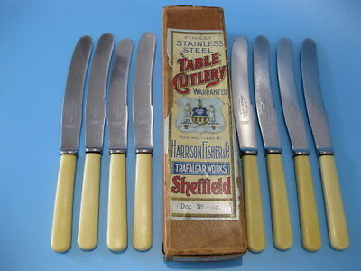 Lovely Antique Box Set of 8 Large Stainless Steel Table Knives / Butter Knives