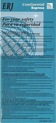 Continental Express Airlines - Safety Card - Embraer Erj 1999