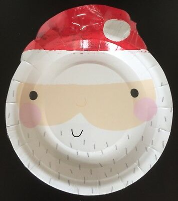"Santa Father Christmas Printed Paper Party Plates 6"" BULK BUY 80 PLATES!!!!"