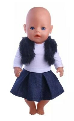 Puppenkleidung, Outfit, Rock, blau, Jeans, 43 cm, zb. Baby Born/Sister, NEU