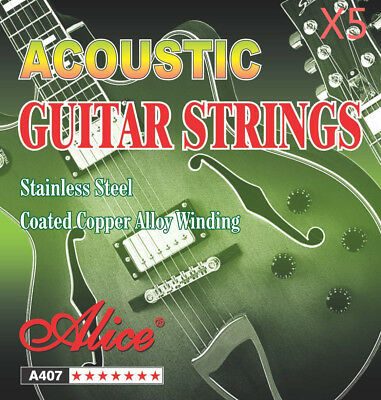 5 Pack Alice Stainless Steel A407-L Acoustic Guitar Strings 6 Strings/Set Light