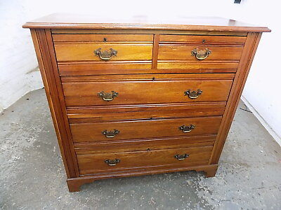 edwardian,antique,walnut,chest of drawers,two over three,drawers,bracket feet