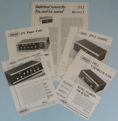 Vtg Jason Sales Brochure Leaflets, J.2-10 MK.III Valve Amp, Etc, Prices, 1960's