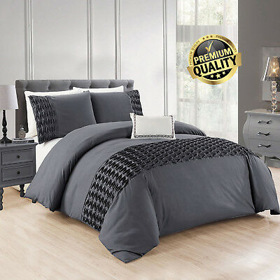 Grey Wrinkled Duvet Cover Bedding Sets With Pillow Cases Single Double King Size